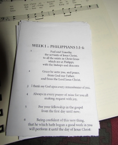 "Part of the ""Philippians in 28 Days"" memorization program."