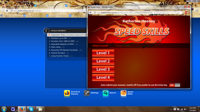 """Screen shot with Katie's opening page and """"Speed Skills"""" window."""